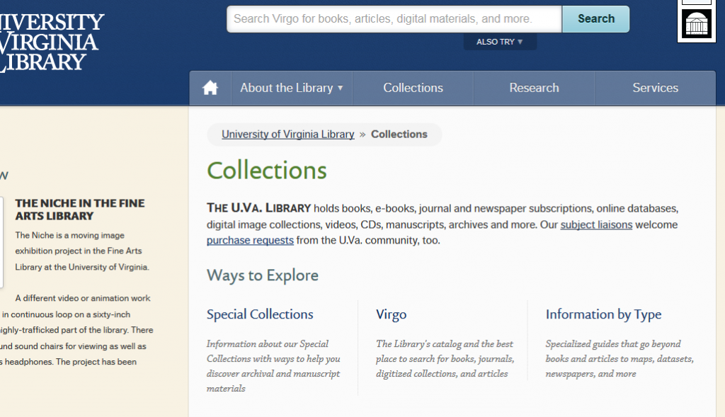 Figure 2 Library Collections page