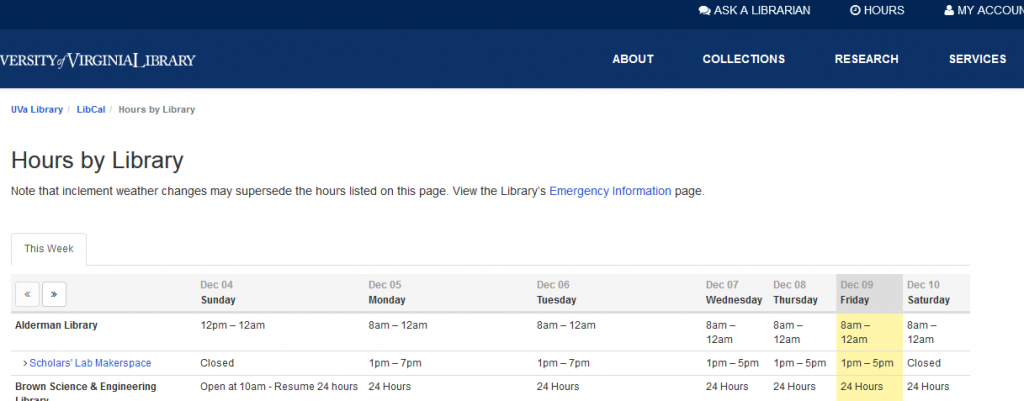 Figure 1 Library Hours page