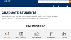 top of first prototype web page for graduate student services