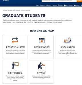 screen capture of top of second prototype web page for graduate student services