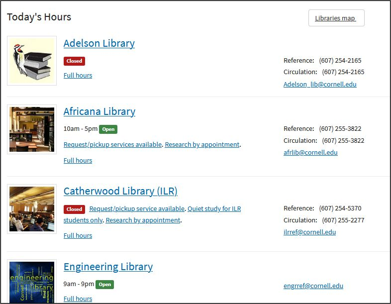 Library hours listed with closed button in red or open button in green, plus photo of library and other links