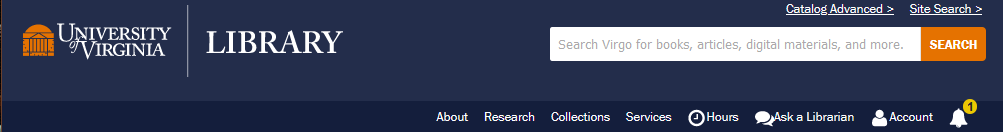 blue header with logo and search bar