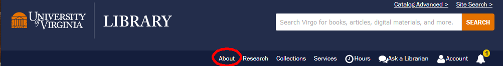 blue header with About circled in red