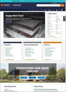 Web page with blue header and Happy New Year image, Today's Hours, and more links.