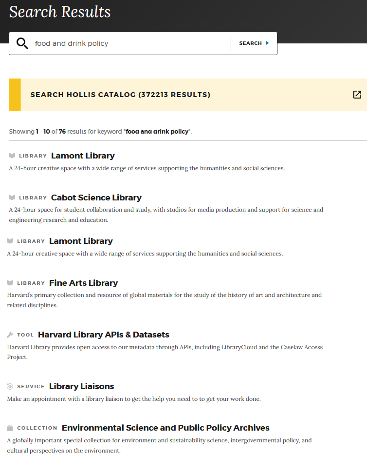 One column with headings Library, Tool, Service, Collection